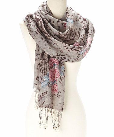 Look at this #zulilyfind! Gray & Pink Floral Jungle Wool Shawl by Sacred Threads Boutique #zulilyfinds