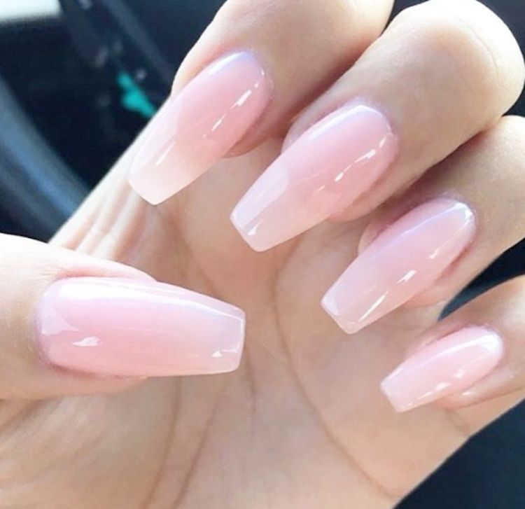 Pink And White Coffin Nails With Diamonds