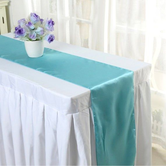 10PCS Wedding 12 x 108 inch Satin Table Runner Wedding Banquet Dining Table Decoration White