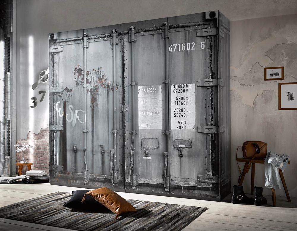 Kleiderschrank Schrank Schlafzimmer Drehturen Container Optik Grau Neu 33343 Loft Mobel Industriedesign Vintage Schlafzimmer Schrank