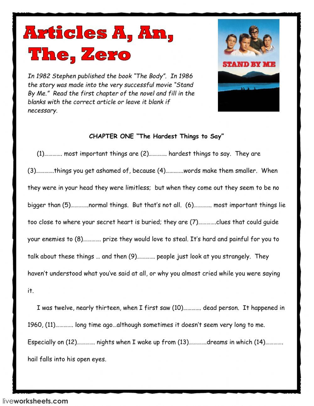 worksheet Worksheets On Connectors In English Grammar articles a an the zero interactive and downloadable worksheet body by stephen king worksheet