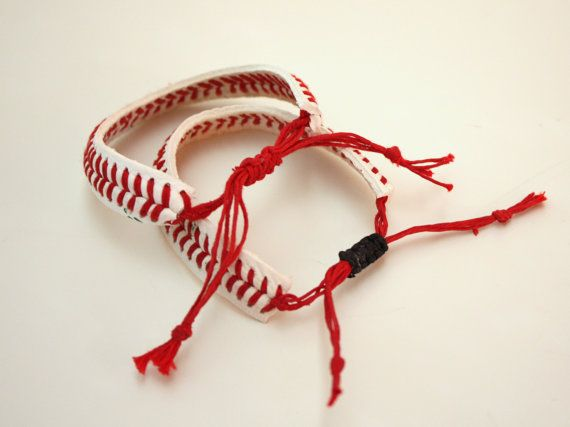 Andrea...  i thought of you when I saw this.  I wonder if you guys play ball together, have a game ball, or maybe (here's the tear jerker)  Save the base ball from Julian's 1st time playing ball...THE ORIGINAL Baseball Bracelet  sliding knot by ByStudio13 on Etsy, $7.00