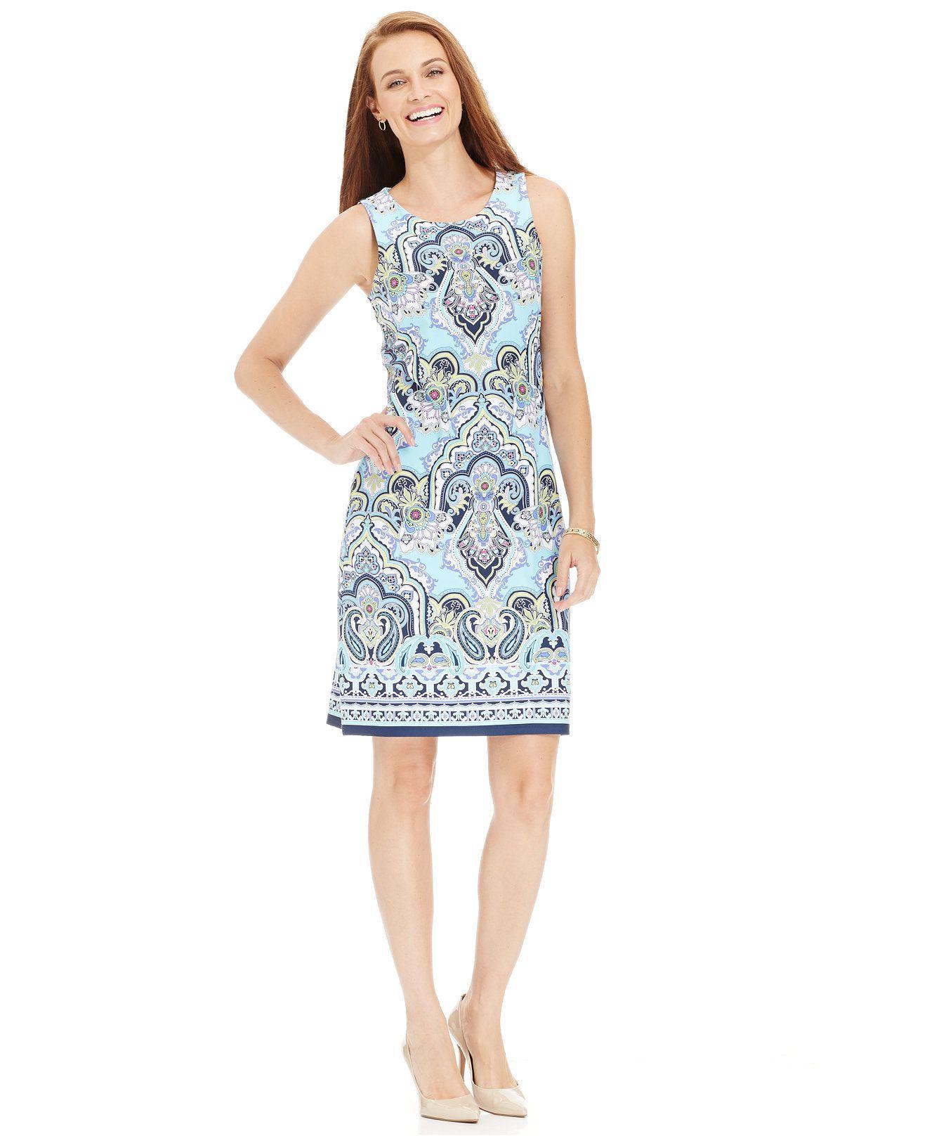 Charter club plus size sleeveless printed sheath dress dresses