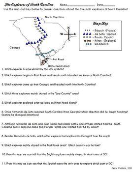 South Carolina Explorers Map Activity 3 2 2 South Carolina Explorers Map Activities Third Grade Social Studies