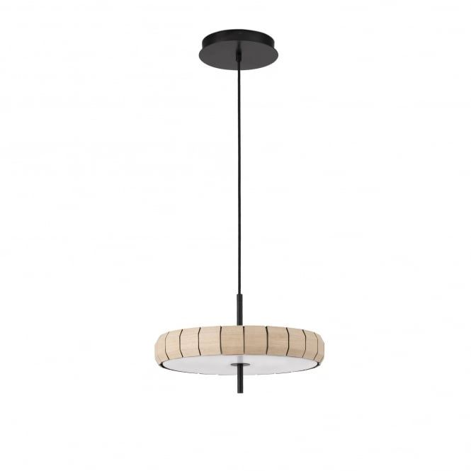 A decorative disc shaped ceiling pendant with a wooden panel body a decorative disc shaped ceiling pendant with a wooden panel body surround and opal white diffuser the light is suspended on a black flex which ca aloadofball Images