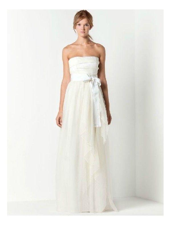 Chiffon Strapless Straight Neckline Column Wedding Dresses with Elegant Bow  Accents Sash - Bridal Gowns - RainingBlossoms 58a2e981379d