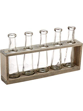 Creative Co-Op Distressed Grey Vase Holder with Glass Vases ❤ Creative Co-op
