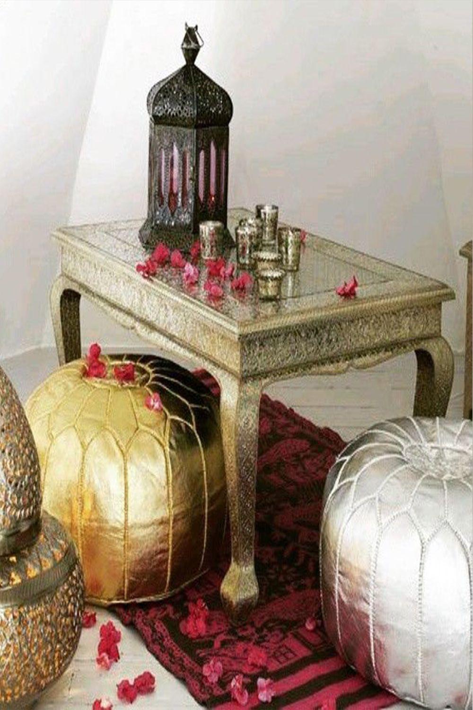 set of 2Morocaan handmade poufs gold and silverustuffed poufsMoroccan style