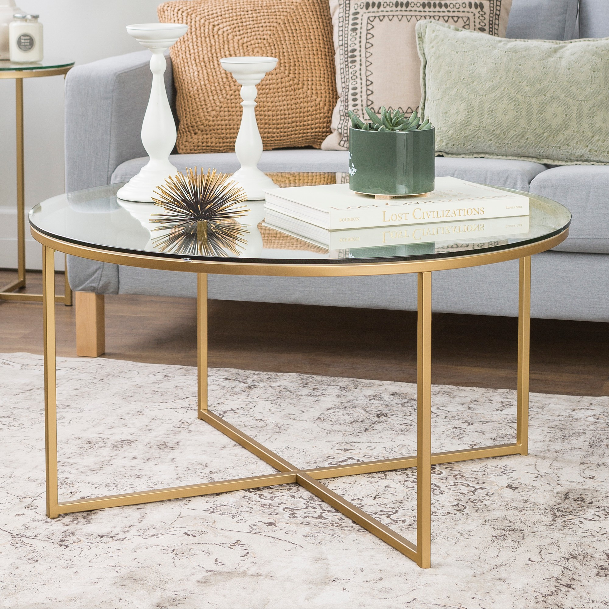 36 Coffee Table With X Base Glass Gold Saracina Home Gold Coffee Table Round Glass Coffee Table Round Gold Coffee Table
