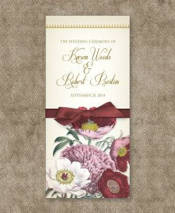 red poppy tri fold program template mother of the bride