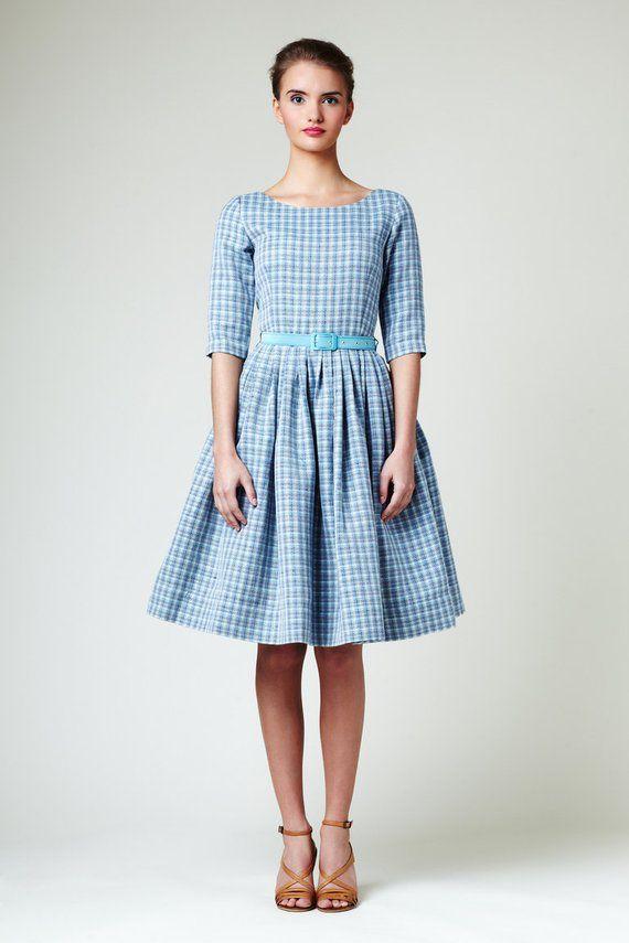 a1d92afb92 Blue linen dress 1950s dress Casual wedding dress Dusty blue dress ...
