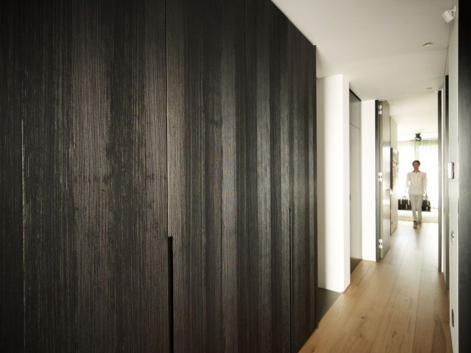 Architecture Corridor Modern Family House Design With Laminate Flooring Tile And Black Wood Wall Covering Panels The Ealing Contemporar