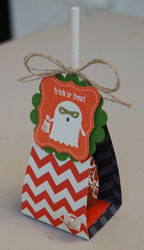 Ghost Lollipop holder - a great Halloween treat.  Free craft tutorial.  Made with Stampin Up paper and stamps A Craftin' Owl creation