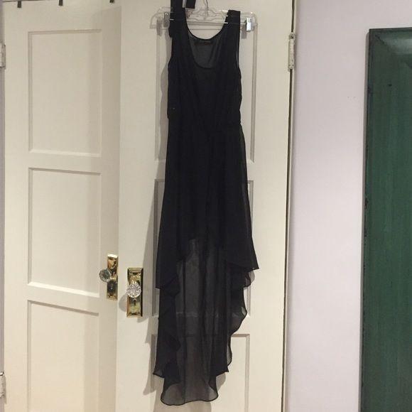 Black sheer hi-low dress Black foreign exchange hi-low sheer dress with a slit in front Foreign Exchange Dresses High Low