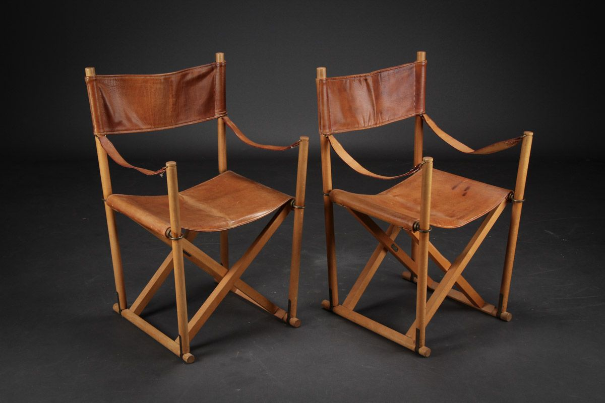 Mogens Koch Folding Chairs In Leather Camping Chairs
