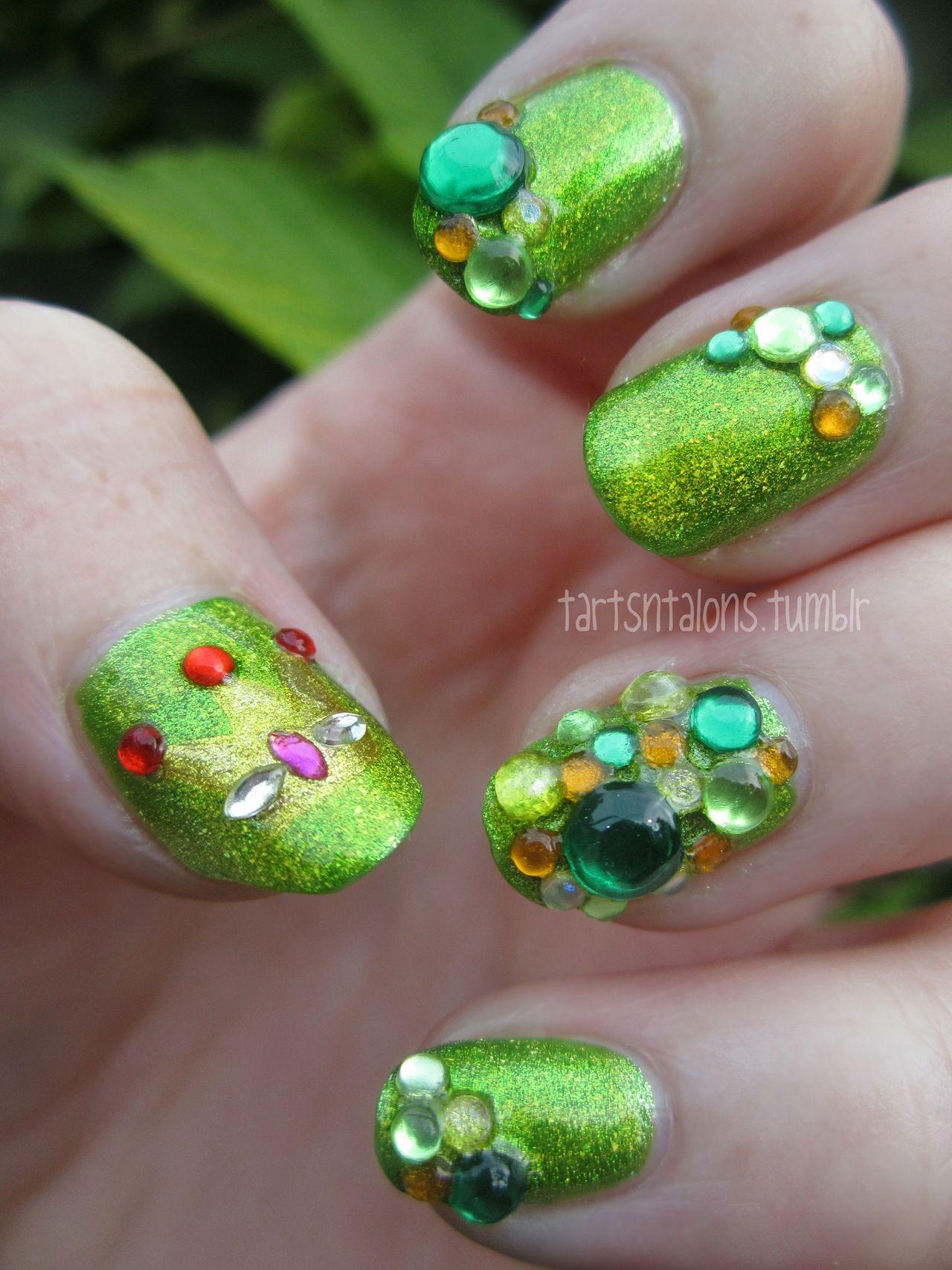 Slug Queen jeweled nail art. (kinda awful, but I love it ...