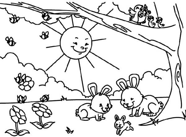 Sun Shine Bright in Spring Coloring Page Projets essayer