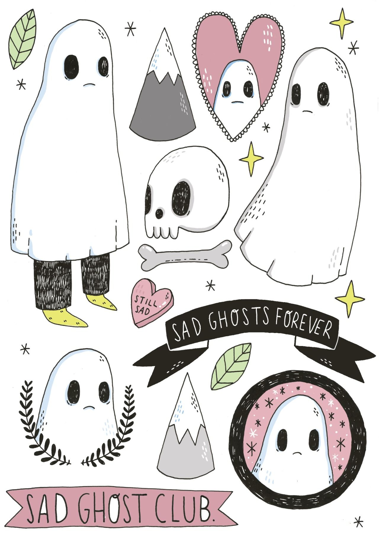 It is an image of Satisfactory Cartoon Ghost Tattoo Drawing