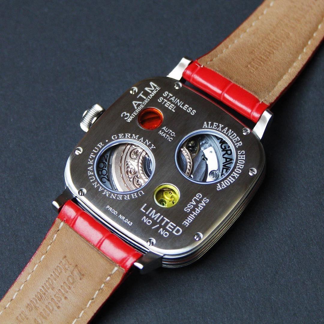 "Back case of our new watch ""Kandy"". Isn't it beautiful?! #alexandershorokhoff #artonthewrist #avantgarde #munichtime #kandy #watchtheback #kandinsky #redwatch #roteuhr"