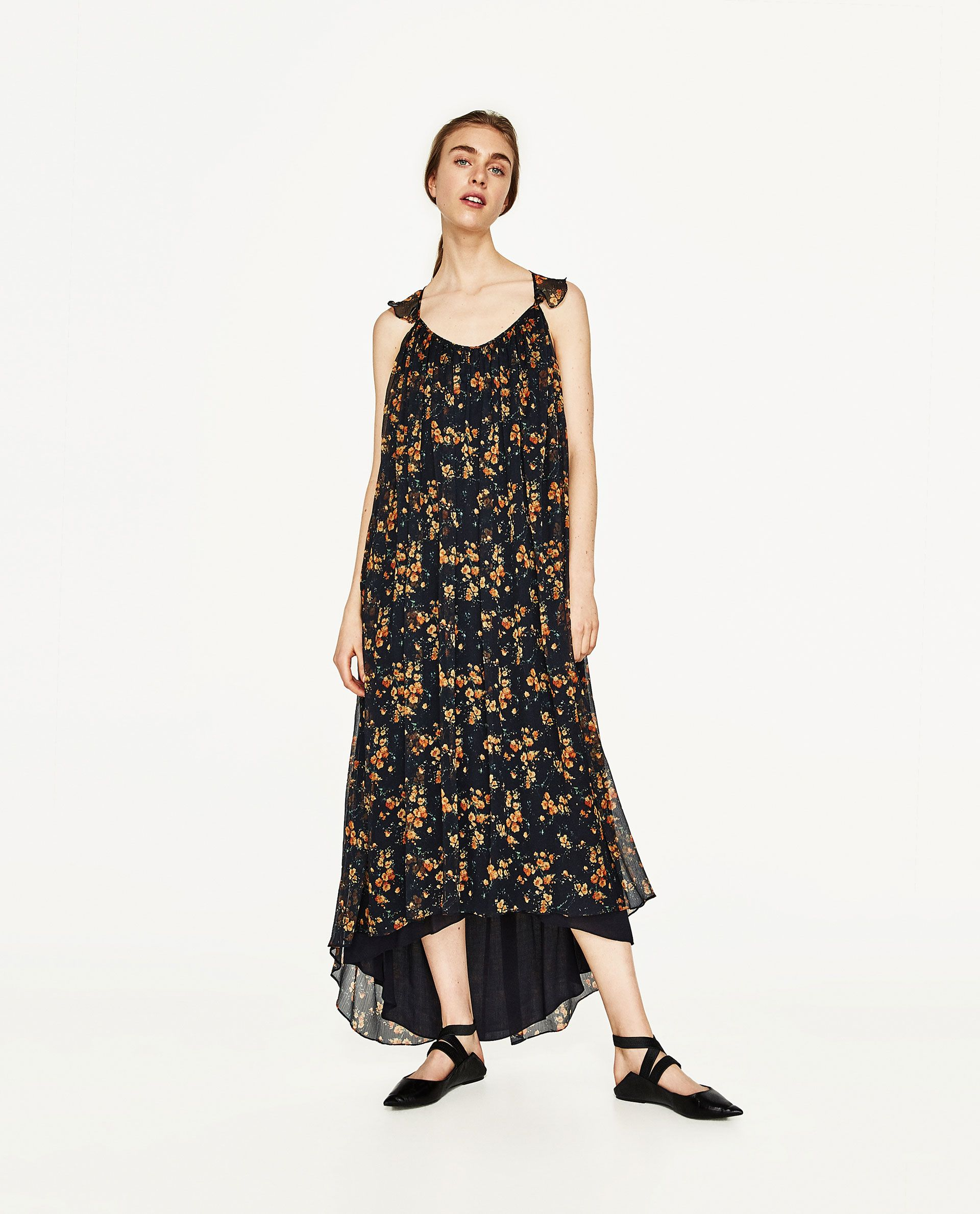 ZARA - SALE - LONG STRAPPY DRESS WITH FRILL  Kleider, Sommer