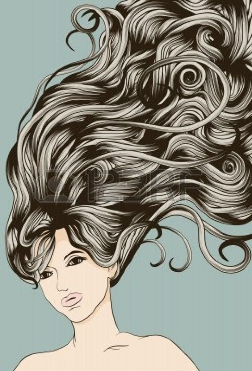 Woman S Face With Long Detailed Flowing Hair How To Draw Hair Woman Face Hair Vector