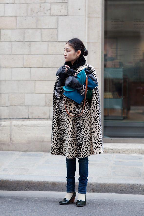 the coat + the marinière + the blue bag