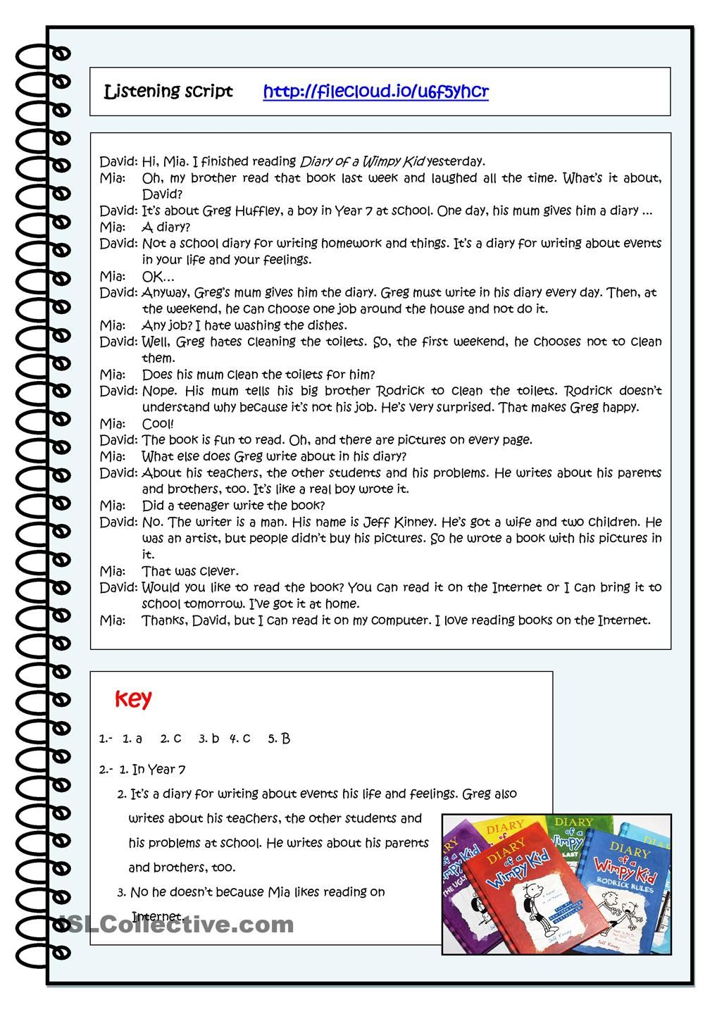 DIARY OF A WIMPY KID-worksheet2   Teaching materials   Pinterest