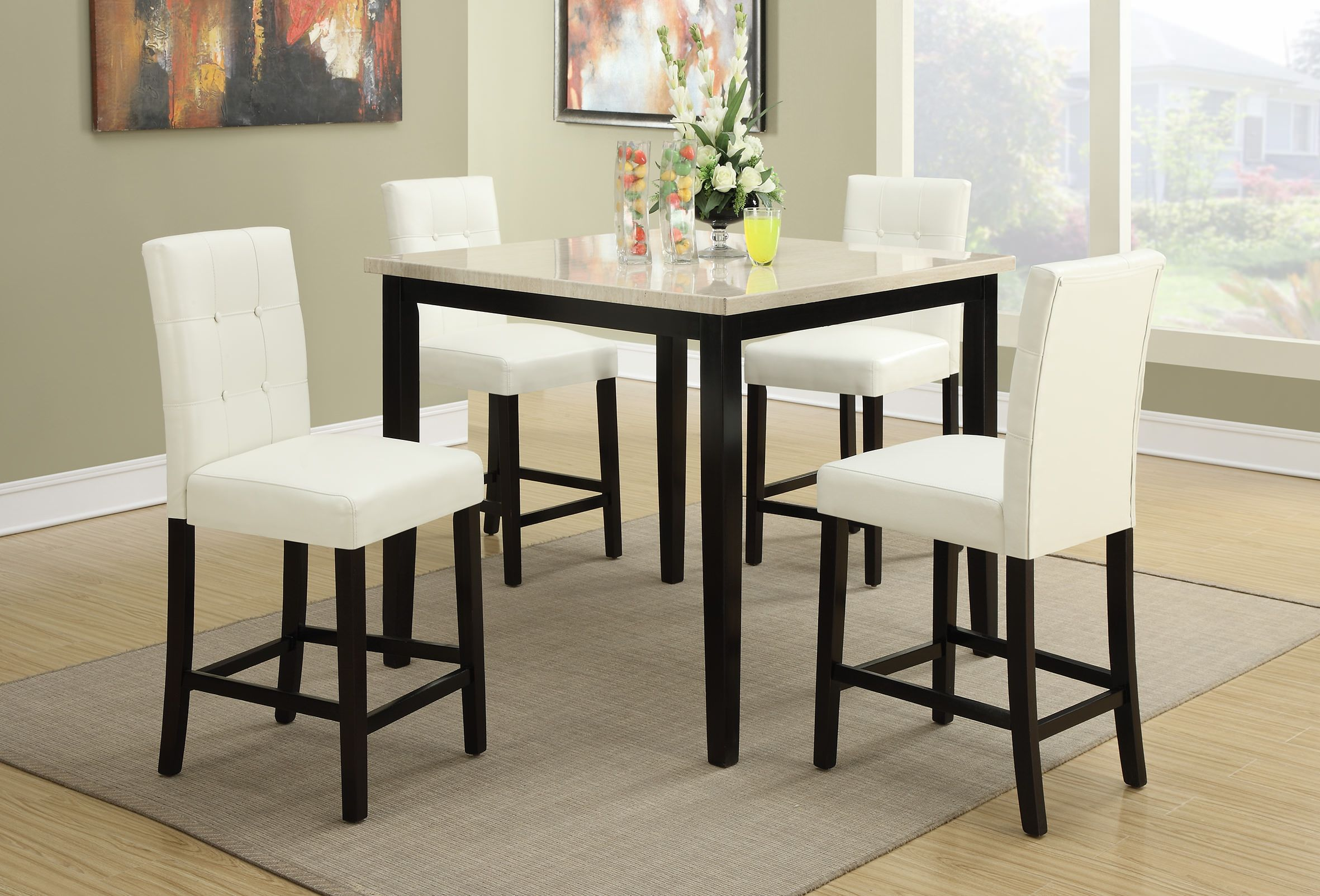 Bar Height Table And Chairs F2338 F1148 5 Pcs Counter Height Set By Poundex In 2019