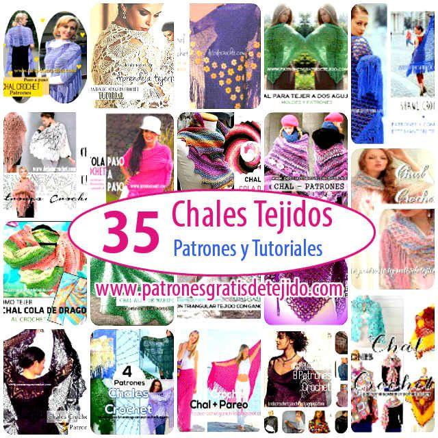 35 patrones de chales y mantones para tejer al crochet y con palitos