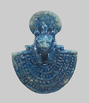 Aegis of Sekhmet or Bastet, Third Intermediate Period and later (ca. 1070–332 B.C.)  Egyptian  Faience
