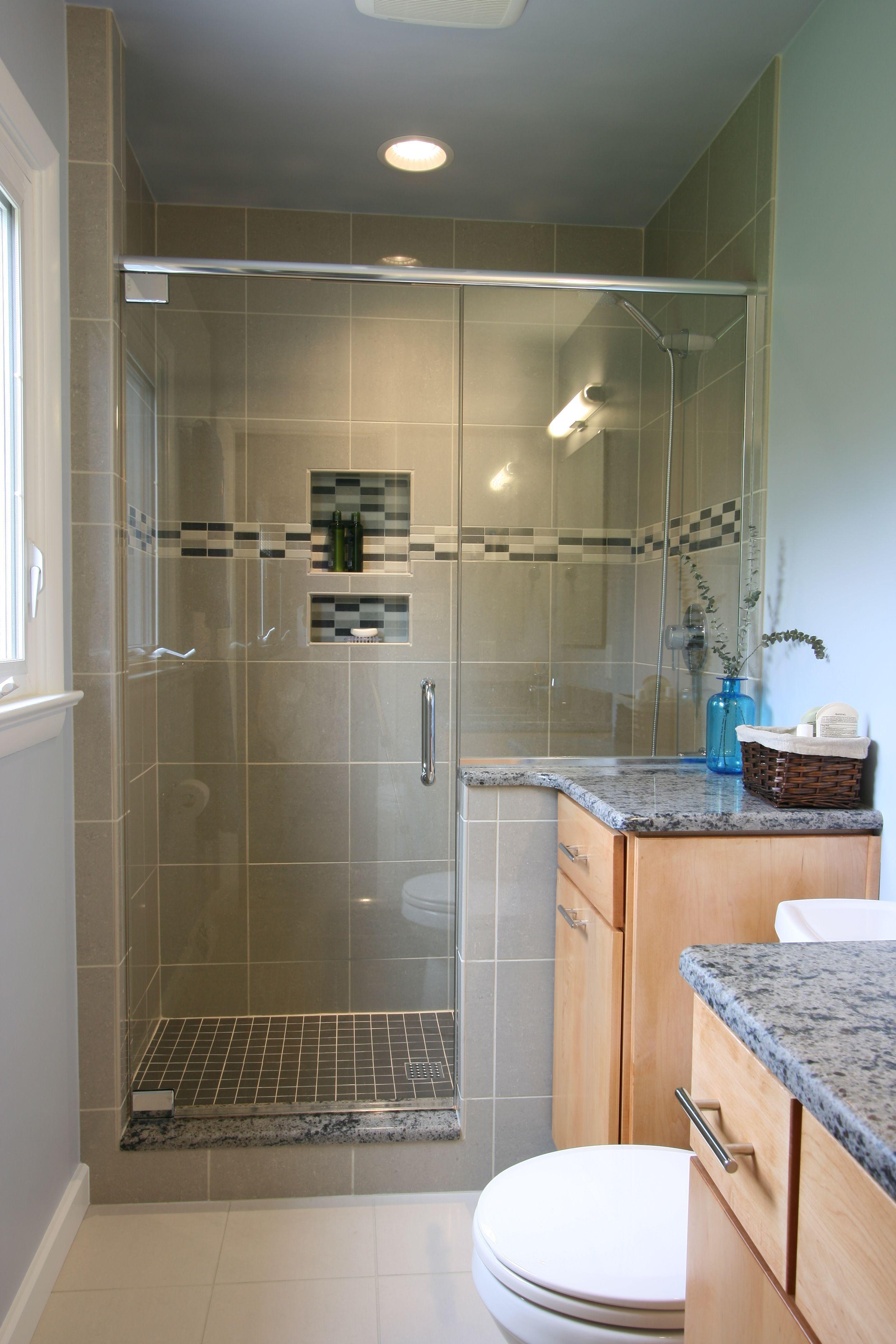 plete new bath Custom tile shower with recessed niche