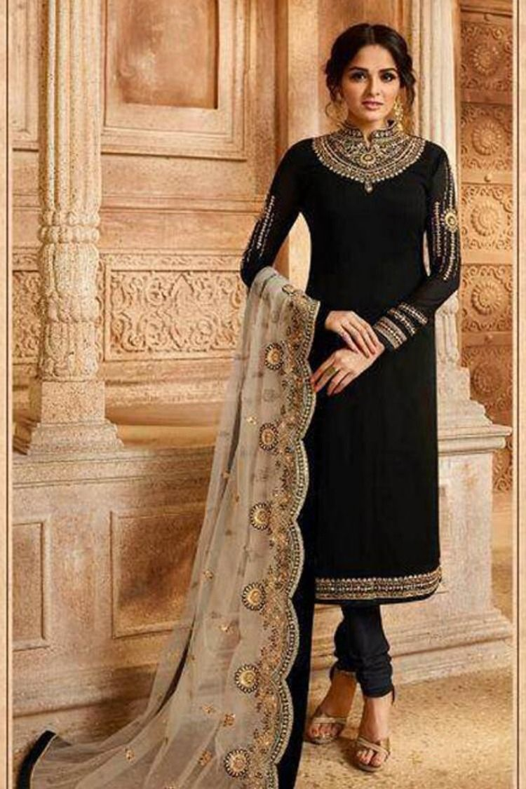 9407ac19c7 Embroidery Georgette Suit comes in both Lehenga or Churidhar style with  gorgeous beige color dupatta