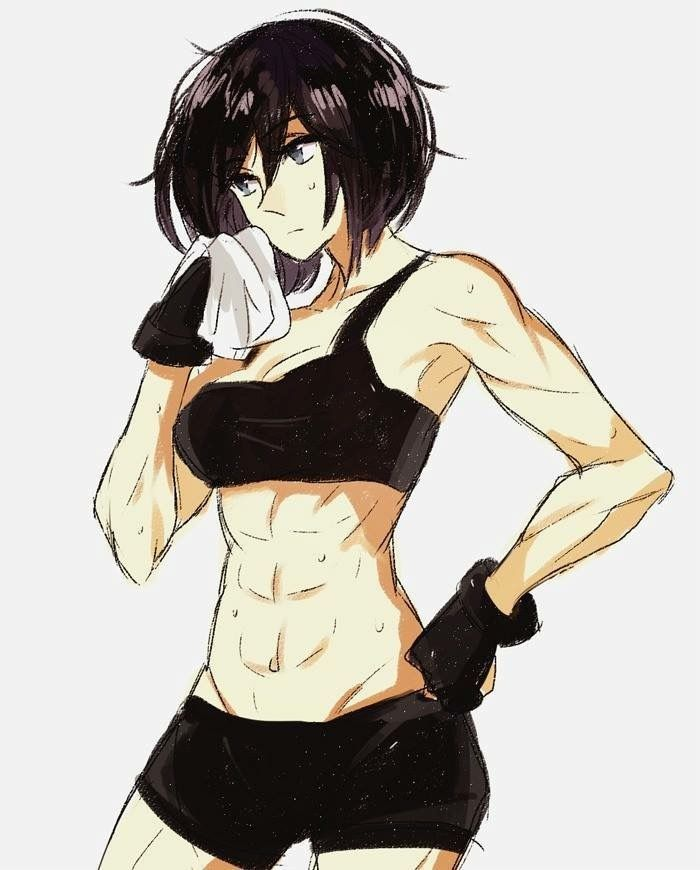 Anime Female Abs : anime, female, Mikasa