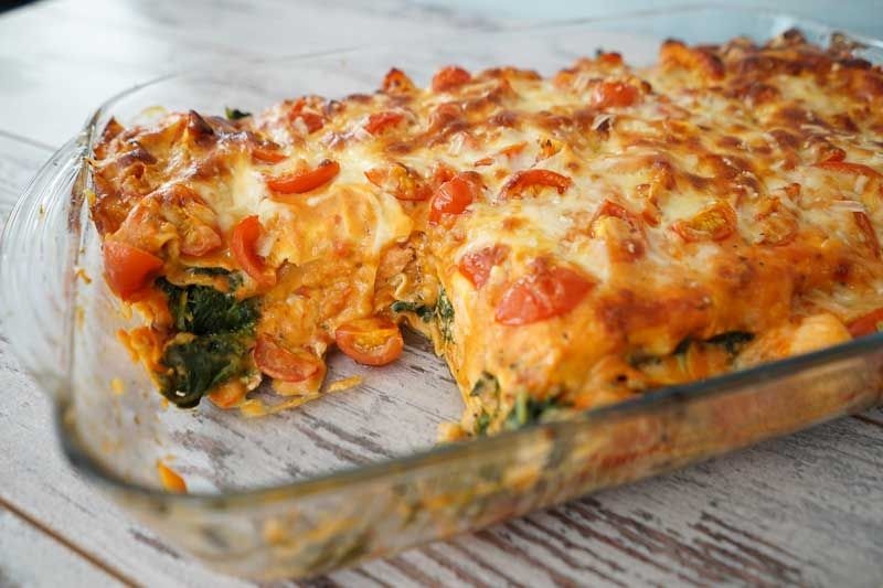 Sallys Rezepte - Lasagne mit Spinat und Lachs in Tomatenrahmsoße / Lieblingslasagne #spinatlasagne