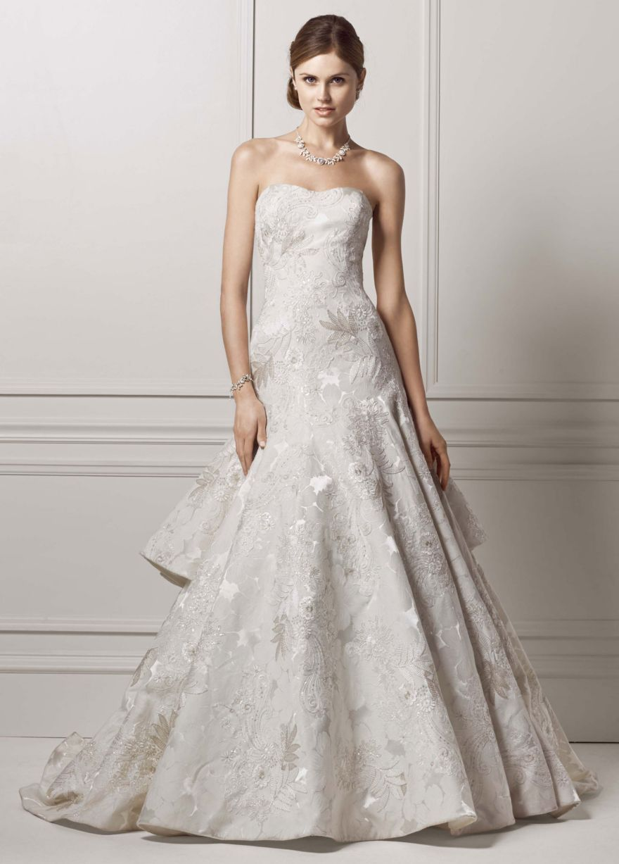 Floral jacquard trumpet gown with tiered back davidus bridal