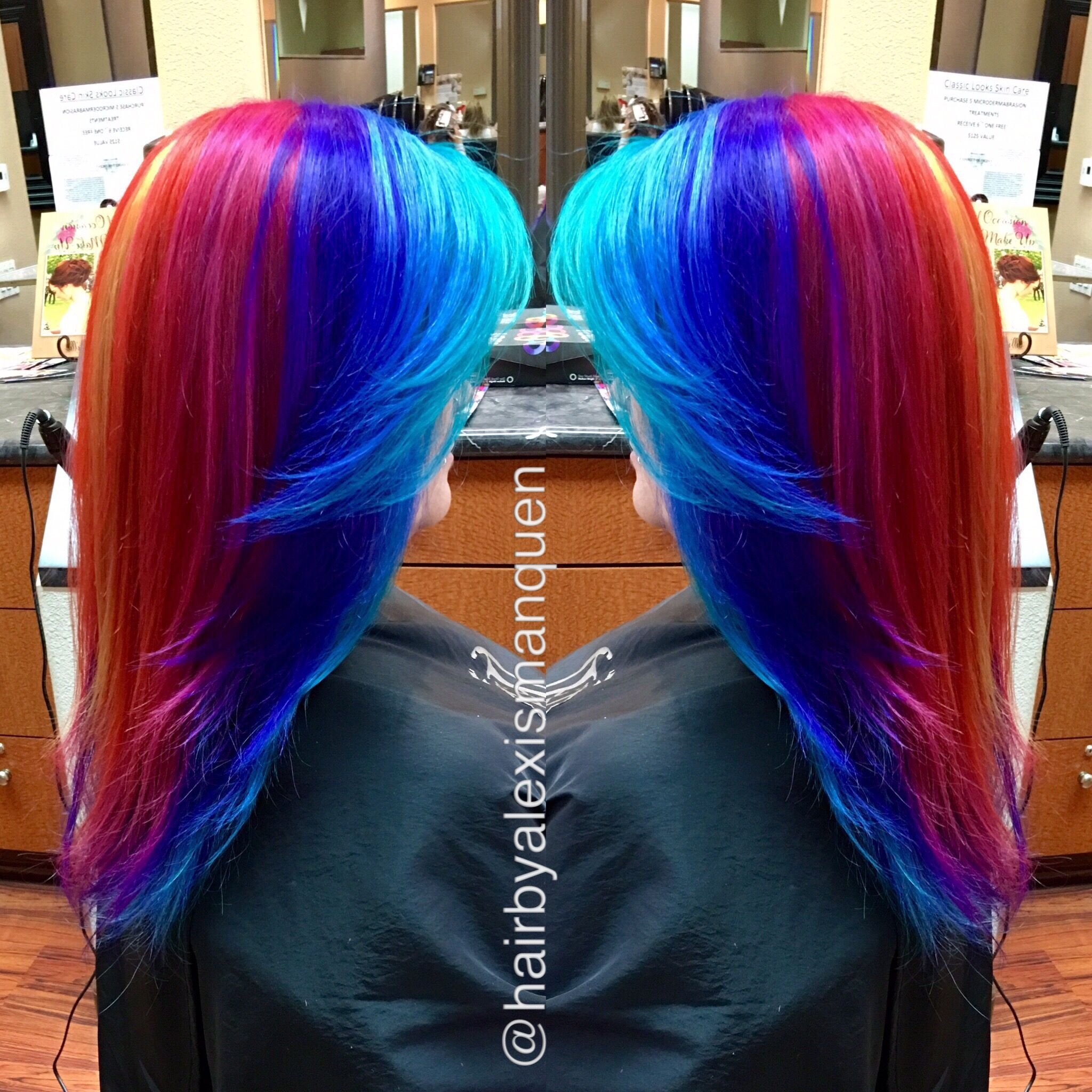 Rainbow hair using kenra lightener and pravana vivids with olaplex