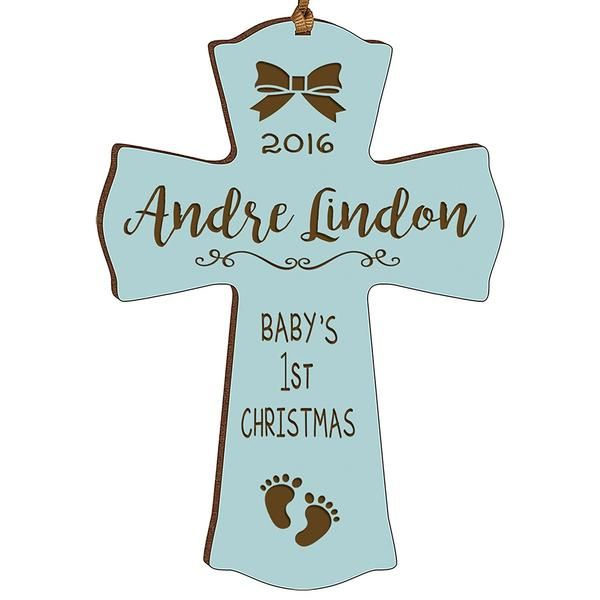 Personalized Baby First Christmas Ornament  Engraved Wooden Ornament  Wood Gift for Boy Girl Christmas Gift  Holiday Keepsake Baptism Gift