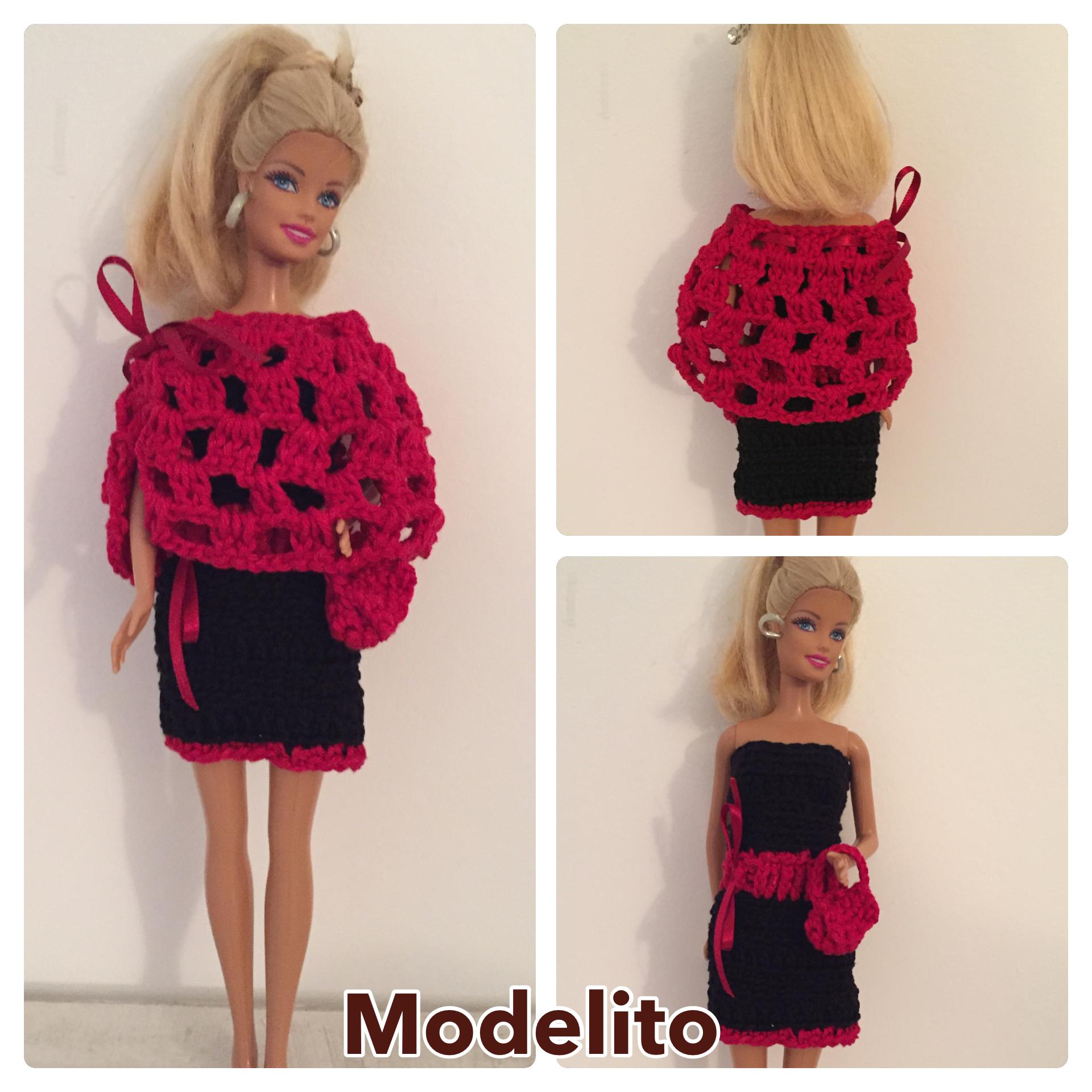 Modelito preto e vermelho em croche para boneca Barbie