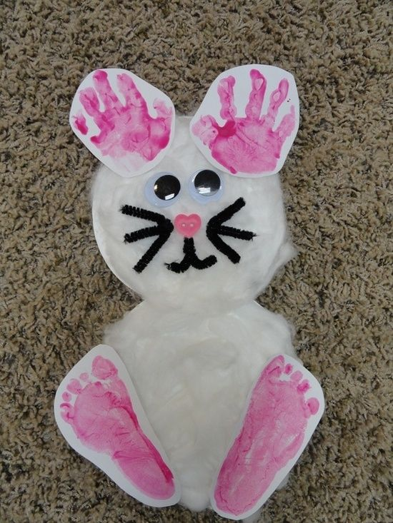Such a cute idea...Bunny with child's handprints and footprints @ Happy Learning Education Ideas