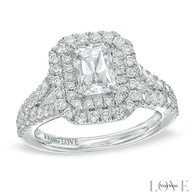 Vera Wang LOVE Collection 2 CT. T.W. Emerald-Cut Diamond Double ...