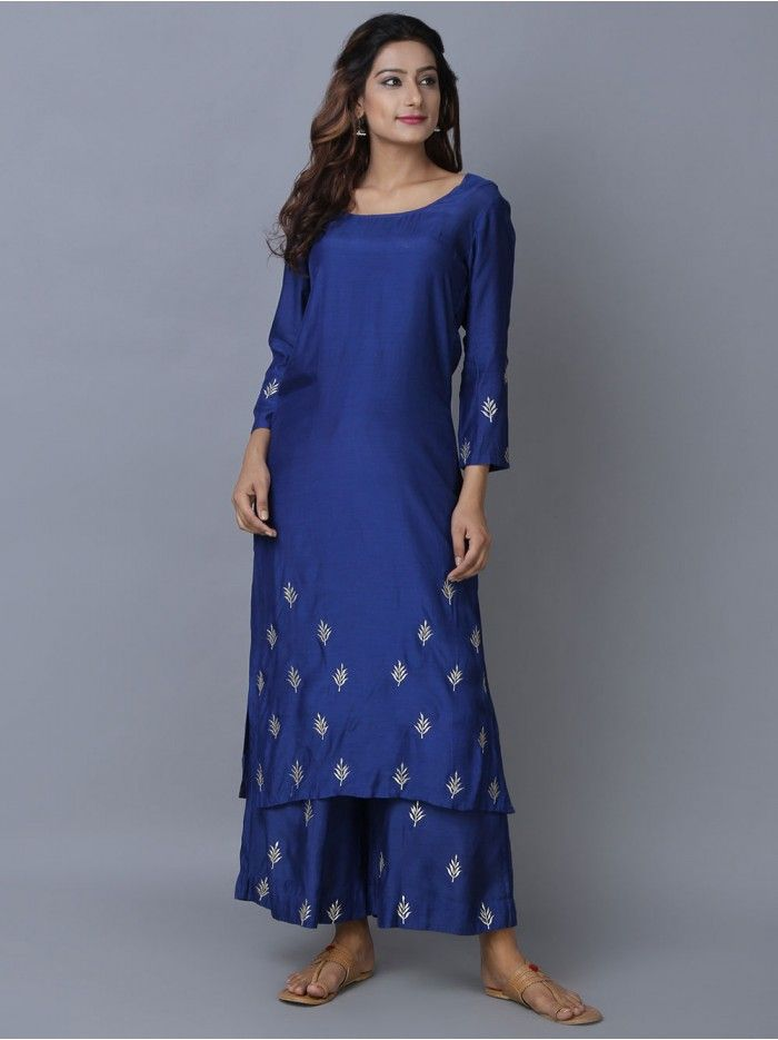 4d885116d097cd Blue Modal Silk Straight Kurta with Palazzo - Set of 2 | The Loom ...