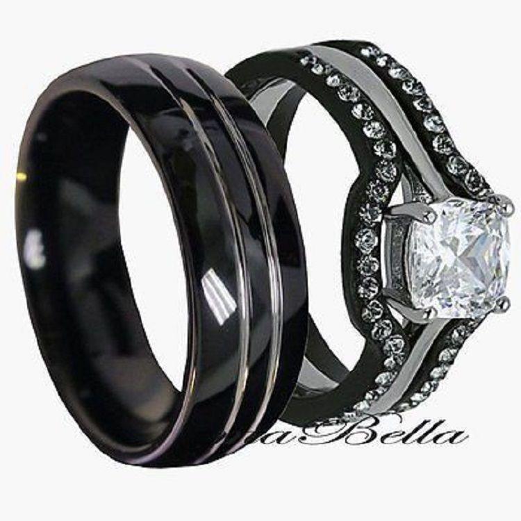 Gunmetal Wedding Ring Sets Perak Aksesoris Band
