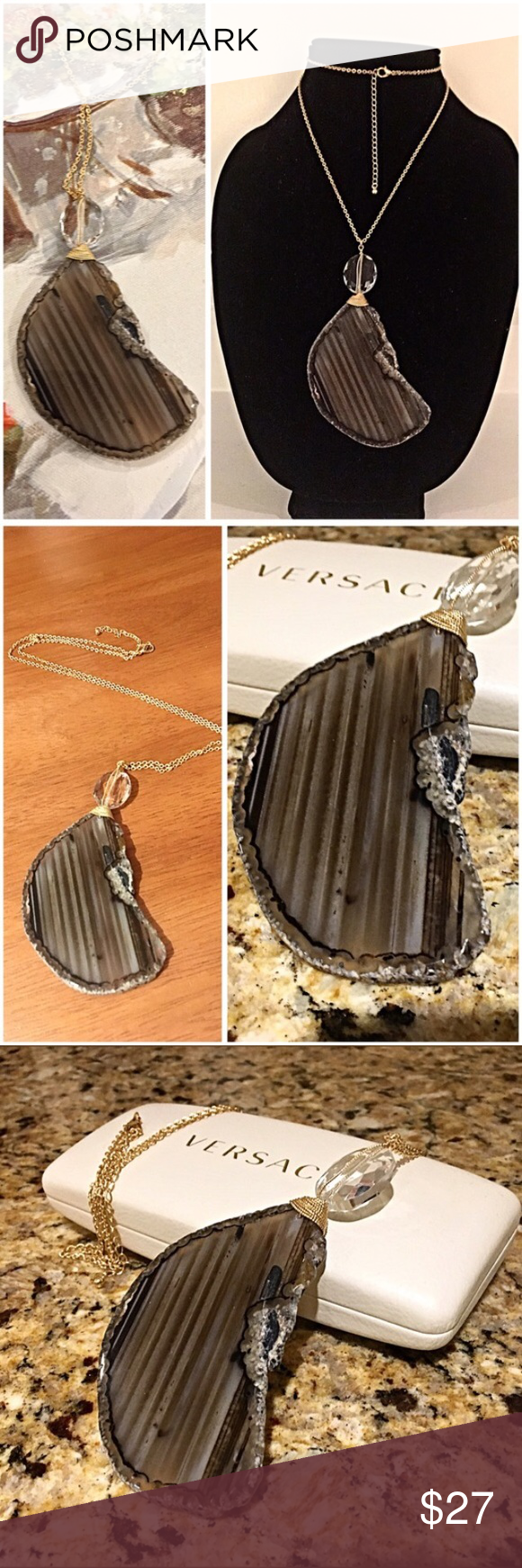 Nwt agate taupe brown swirl mix necklace nwt hand pictures