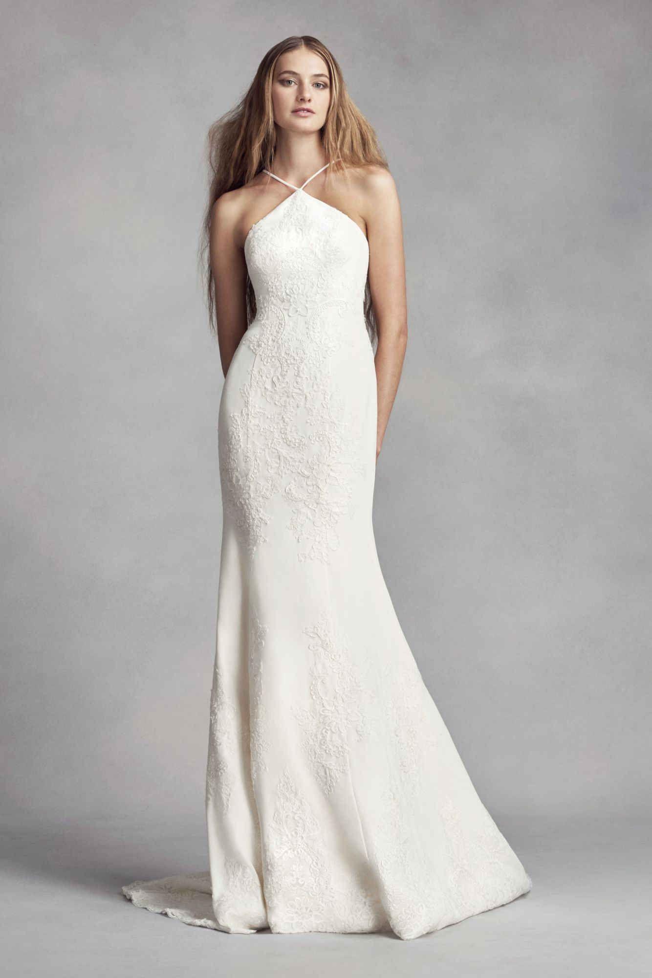 Elegant Halter Neck Long Sheath Lace Appliqued White By Vera Wang Wedding Gown Davids Bridal Wedding Dresses Halter Top Wedding Dress Wedding Dresses Vera Wang