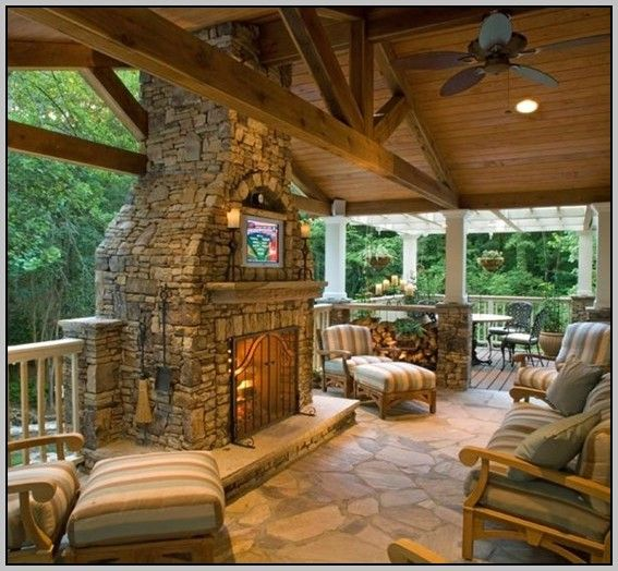 Outdoor covered patios outdoor covered patios related for Back to back indoor outdoor fireplace
