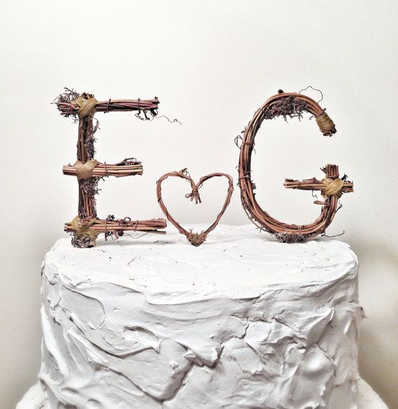 Rustic Monogram Wedding Cake Topper Personalized Any Two Letters