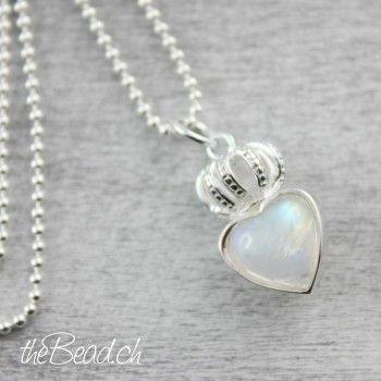 Regenbogen Mondstein Herz silberschmuck mit süssem maiskölbchen als schöne geschenkidee // moonstone silver 925 sterling necklace