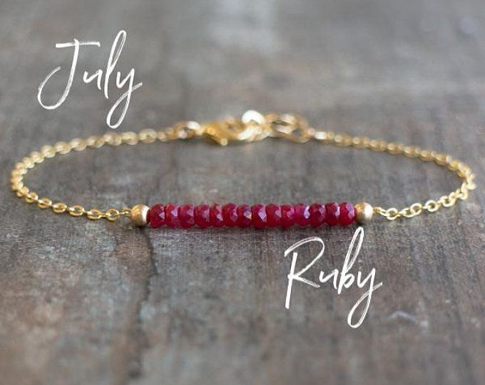 Photo of Ruby Bracelet, July Birthstone, Raw Ruby Bracelet, Dainty Genuine Gemstone Cryst…
