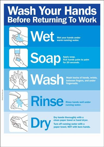 Wash Your Hands Before Returning To Work Food Safety Posters Food Safety Kitchen Safety