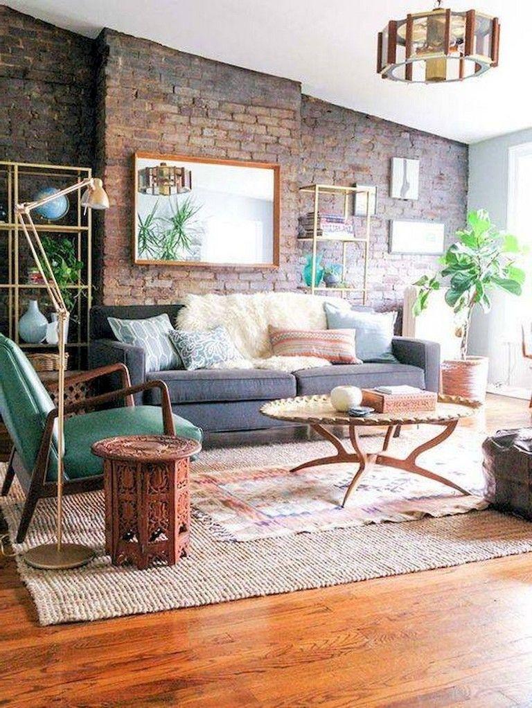 36 Comfy Master Bedroom Brick Wall Decoration Ideas Masterbedroom Bricks Walldeco Boho Chic Living Room Decor Brick Wall Living Room Chic Living Room Decor